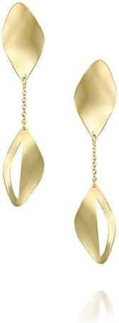 14k Gold Drop Earrings - Solid Yellow Gold Dangling Earrings - Diamond Shape Dangle Earrings -Long Drop Earrings - Mother's Day Gift (3.2 g)
