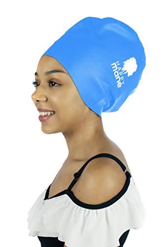 Happy Mane Large Silicone Swim Cap Swimming Shower Cap Designed Braids, Long Hair Dreadlocks, Extensions Afro Hair Men Women Youth Child Keeps Hair Clean Dry (Blue, L)