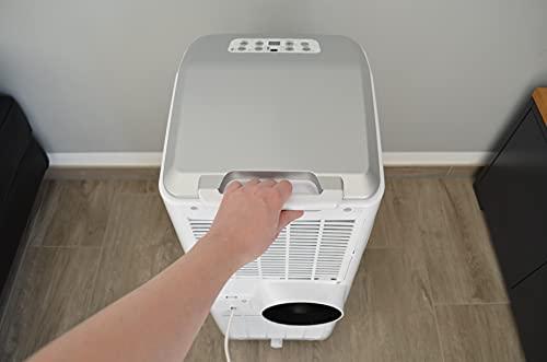 HECHT mobile Klimaanlage 4IN1 – Kühlen, Ventilator, Luftentfeuchter, Schlafmodus – 9000 BTU/h Kühlung (2.600 Watt) - lokales Klimagerät mit Fernbedienung, Abluftschlauch, Fensterabdichtungs-Set