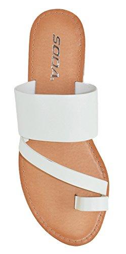 Soda Joan Womens Open Toe Slip On Flip Flop Sandals (White, numeric_9)