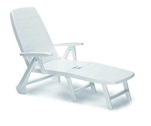 Best Roll Camilla Charleston, color blanco, respaldo reclinable de 5, se puede plegar, Tumbona de jardín con ruedas, aprox. 72X 189X 97cm