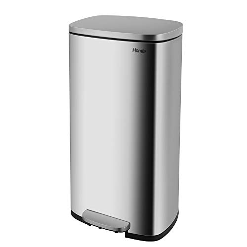 Homfa Kitchen Trash Can, 8 Gallon(30L) Fingerprint Proof Stainless Steel Garbage Can with Removable Inner Bucket and Hinged Lids, Pedal Rubbish Bin 13.6Lx9.5Wx25H inch Home Office, Soft Closure