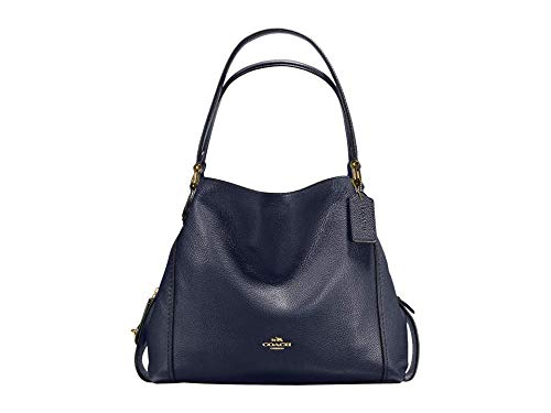 COACH Pebbled Leather Edie 31 Shoulder Bag Navy One Size