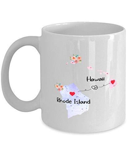 N\A Regalos de Hawaii Rhode Island Taza de café estatal de Larga Distancia Estado a Estado lejos de la Ciudad Natal Taza de mudanza Familiar