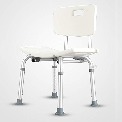 Toilettenstühle Extra breiter Duschstuhl/Bad-Anti-Rutsch-Stuhl/Höhenverstellbarer Badhocker für ältere Schwangere, Aluminium/Bequeme Rückenlehne/Weiß, Maximale Belastung 200 kg
