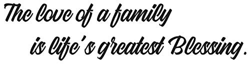 """Fabulous décor - """"The Love of a family is life's greatest blessing"""" Decal Vinyl Wall Art Premium Sticker Faith Religious Bible Quote Scripture Christian Inspirational Decoration 32Wx8H (Black)"""
