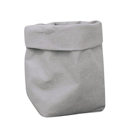 BZLine®Sac de Papier Kraft Lavable Fleurs Plantes Pots Multifonction Sac de Rangement à la Maison (Gris)