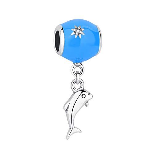 LISHOU DIY 925 Plata Esterlina Esmalte Azul Vida Marina Colgante De Cuentas De Delfín Apto para Pulseras Pandora Originales Collar Colgante Fabricación De Joyas