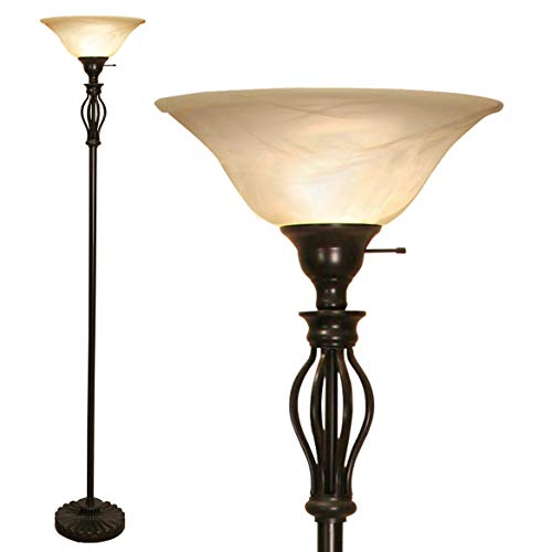 "Floor Lamp for Living Room Decor by Light Accents - Tall Floor Lamp Bed Room Decor - Traditional Iron Scrollwork Standing Lamp Pole Light with Alabaster Glass Bowl Shade – 70"" Tall- (Bronze)"