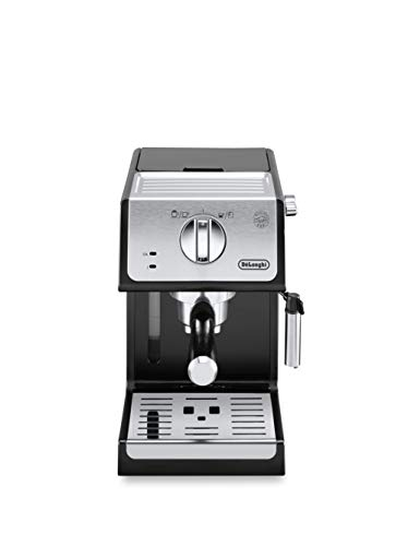 De'longhi - Cafetera de Bomba Tradicional para Espresso y Cappuccino, para Café Molido y Monodosis, 2 Tazas Simultáneamente, Depósito de Agua de 1.1 l, 1100 W, ECP 33.21, Negro y Plata