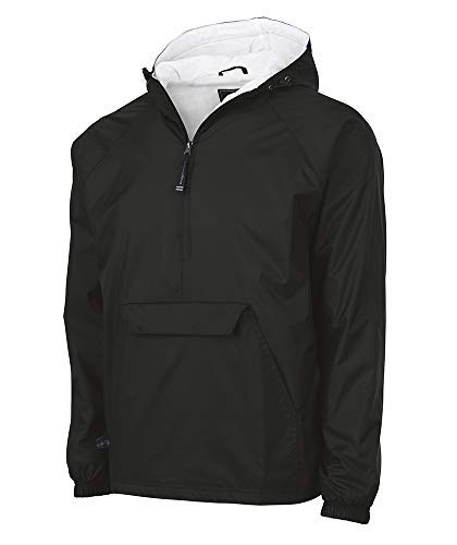 Charles River Apparel Plus Wind & Water-Resistant Pullover Rain Jacket (Reg/Ext Sizes), Black, 4XL