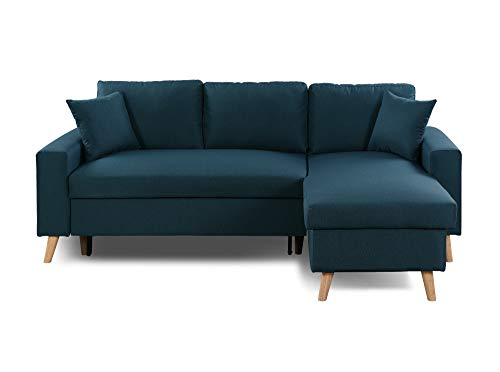 Canapé d'angle Bleu Tissu Pas cher Scandinave Grand