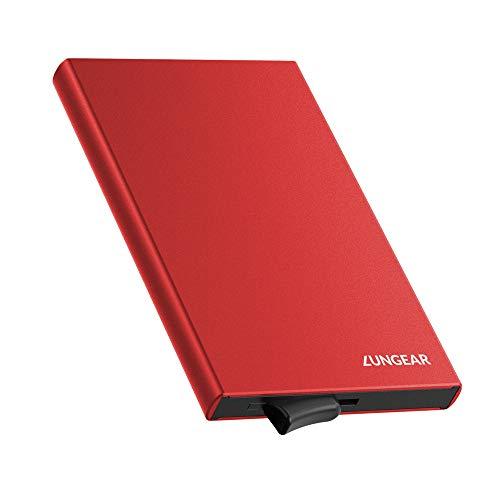 LUNGEAR Tarjetero de Aluminio para Tarjetas de Crédito, RFID Bloqueo Ejector la Cartera, Tarjetero Metálico de 5 Tarjetas para Hombre o Mujer (Rojo)