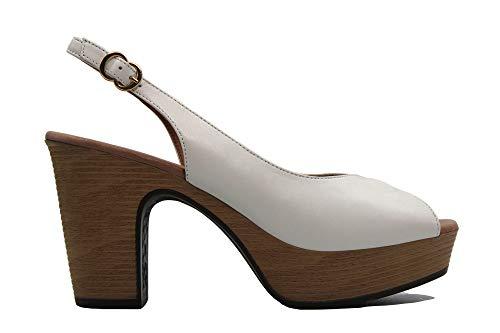 PEDRO MIRALLES - 15161 -Sandalias de tacón y plataforma, salón destalonado y abierto por delante,cierre con hebilla, para: Mujer color: OFF talla:37