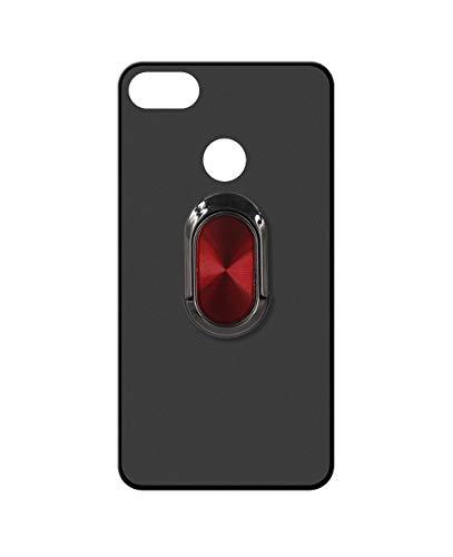 Sunrive Funda para OPPO A7x, Silicona Mate Gel Carcasa Case Bumper Anti-Arañazos Espalda Cover Anillo Kickstand 360 Grados Giratorio(A4 Rojo Negro) + 1 x Lápiz óptico
