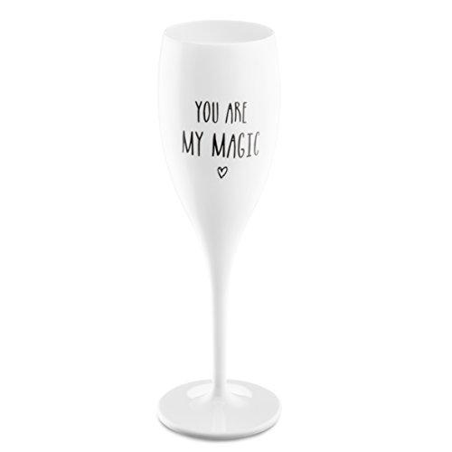 Koziol 3783525 Flûte à Champagne avec Impression, Plastique, Blanc Opaque, 5,7 x 5,7 x 19,1 cm
