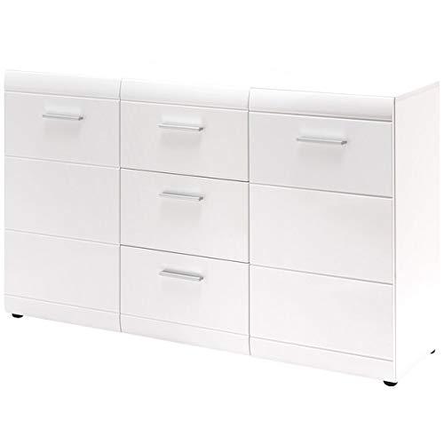 ambiato Diana dressoir met drie laden in wit met hoogglans fronten, 144 x 86 x 39 cm (B/H/D)