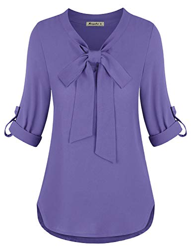 Womens Blouses for Women Business Casual 3/4 Cuffed Sleeve Bow Tie V Neck Casual Chiffon Blouse for Work Purple Small