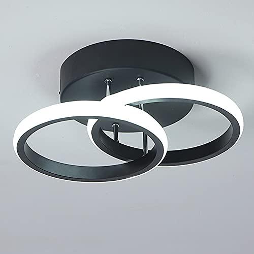 Plafonnier LED 2 Anneaux Mode Nouveau Style Noir Et Blanc Plafonnier Dallée pour Entrée Balcon Couloir Cuisine Salon Éclairage Intérieure Lumière Blanche Froide 22W (Black)