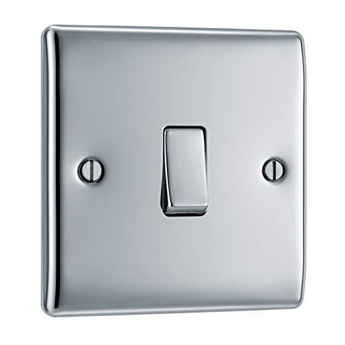BG Electrical Single Light Switch, Polished Chrome, 2-Way, 10AX