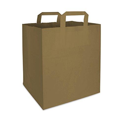 250 Premium BIO Papiertragetaschen mit Henkel Papiertüten Tüten Einkaufstaschen Tragetaschen Einkaufstüten Kreuzbodenbeutel Kraftpapiertüte braun 26 + 17 x 25 cm