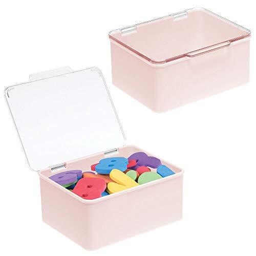 mDesign Juego de 2 organizadores de juguetes con tapa – Juguetero apilable de plástico robusto – Caja de almacenaje para guardar juguetes en la habitación infantil – transparente y rosa claro