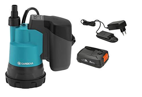 GARDENA Akku-Klarwasser-Tauchpumpe 2000/2 18V P4A Set: 2.000 l/h max. Fördermenge, 2 bar max. Druck, Flachabsaugung bis 5 mm, Entwässerung/Bewässerung/Auspumpen, inkl. 18V Power 4 All Akku (14600-20)