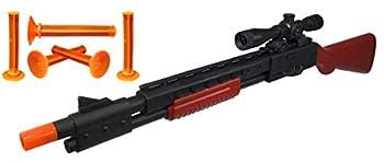 Nicky Bigs Novelties 23  Pump Action Suction Dart Bullet Rifle Western Hunting Novelty Toy Plastic Shooting Sniper Scope Fake Gun Black with Orange Tip