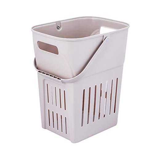 Draagbare Plastic Wasmand, Opbergmand Met Handgrepen, Waterdicht Hoge Capaciteit Voor Slaapkamer, Badkamer - Grijs