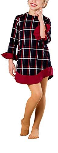 Vestido Camisero Niña de Tejido a Cuadros Azul Rojo Blanco. 100% Algodon. Caliente para Invierno y Otoño. Ideal para Ocasiones Especiales y Fiestas o Uso Diario en Colegio