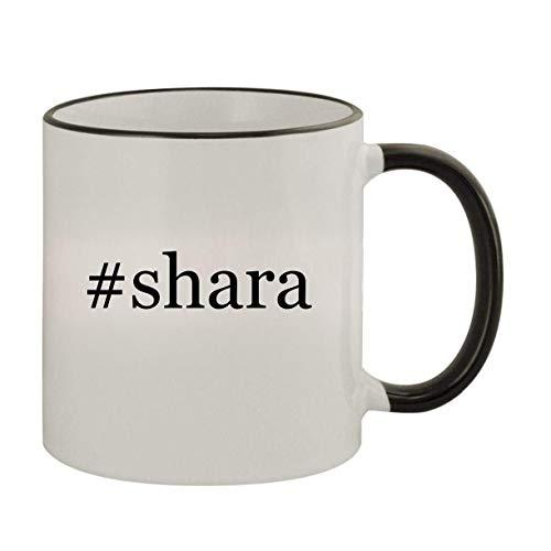 #shara - 11oz Ceramic Colored Rim & Handle Coffee Mug, Black