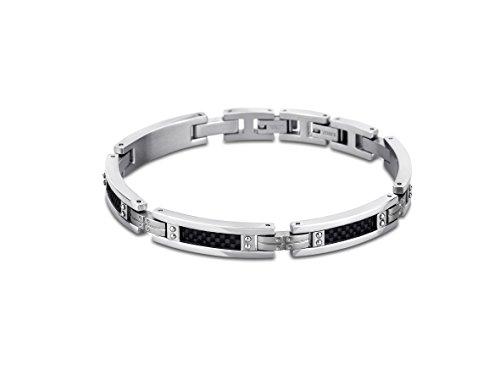 Lotus Style - pulsera para hombres con estilo en negro; acero inoxidable de color plata JLS 1650-2-1.