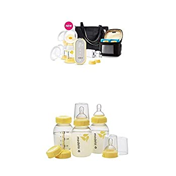 Medela Freestyle Flex Breast Pump and Extra Breast Milk Storage Bottles Smart Pump Closed System Quiet Portable 3 Pack of 5 Ounce Breastfeeding Bottles with Nipples Lids Wide Base Collars Caps