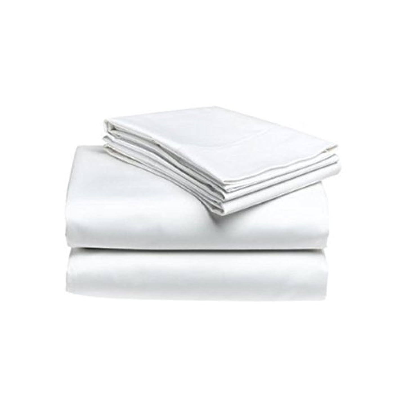 菊タイプライターホテル品質セミダブル、ダブル兼用 ホワイトフラットベッドシーツ コットン