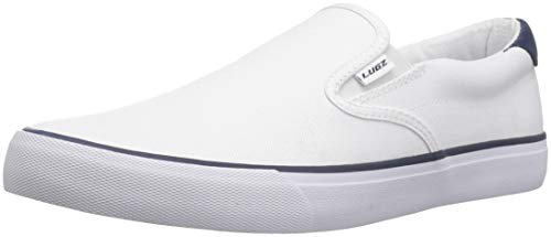 Lugz Men's Clipper Sneaker, White/Peacoat Blue, 9 D US
