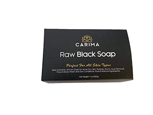 Carima Raw African Black Soap 100% Natural For Face & Body Wash, Acne, Dry Skin and Rashes -