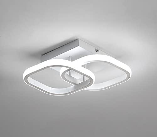 Osairous Plafón LED moderno 22 W, Lámpara de techo acrílica de 2 LED cuadrados blanca, Lámpara de techo para comedor, estudio de cocina, blanco frío/6000K