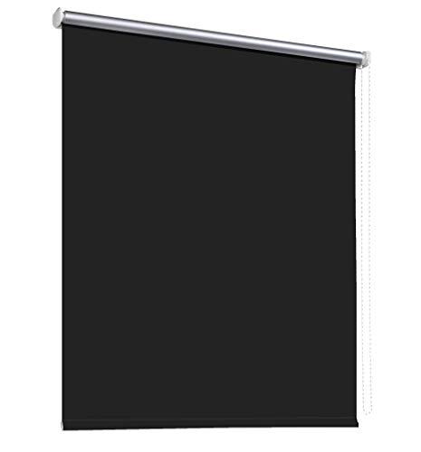 Thermorollo Verdunkelungsrollo Hitzeschutz Seitenzugrollo Fenster Rollo 11 Farben Breite 60 bis 240 cm Stoff lichtundurchlässig Thermo Beschichtung Weiß Silber (210 x 175 cm - Kette links / Schwarz)