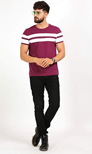AELO Men's Cotton T Shirt-(Amt1020-Pn) (Maroon, Small)