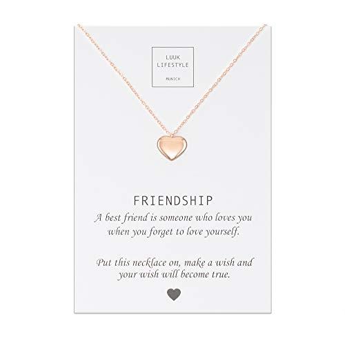 LUUK LIFESTYLE Edelstahl Halskette mit Anhänger und Friendship Spruchkarte, Glücksbringer, Freundschaftskette, Damen Schmuck - Herz Halskette - Rosè