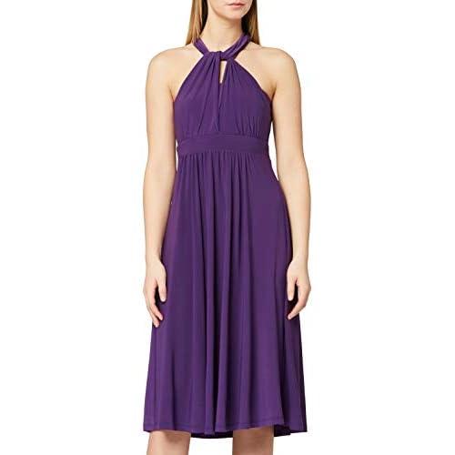 Marchio Amazon - TRUTH & FABLE Vestito Midi Halter Donna, Viola (Bright Purple), 48, Label: XL