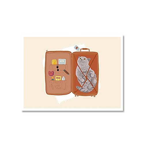 Gato acostado en una maleta, carteles divertidos, lienzo, ilustraciones impresas, imágenes artísticas de pared Vintage para decoración de sala de estar, 30x40 cm sin marco