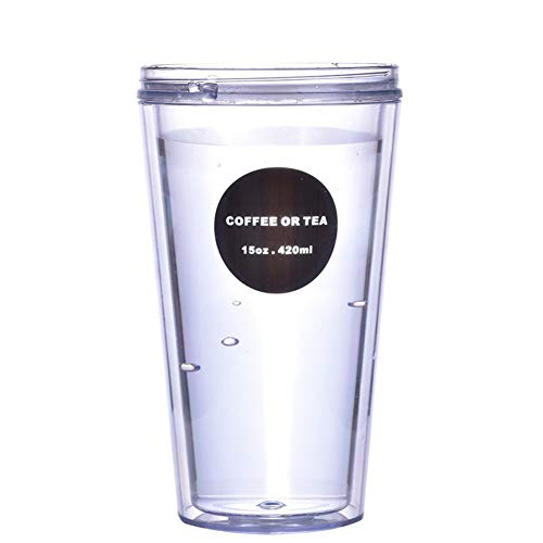 ANZRY Double Tasse en Plastique créatif Portable Tasse à café en Plastique étanche Tasse étudiant Voyage en Plein air, Blanc, 320ml