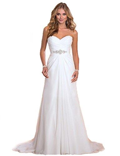 Elegantes Brautkleid Traum Hochzeitskleid A-Linie Gr. 34 36 38 40 42 44 46 Braut Kleid (36/38, Weiß)