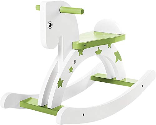 Labebe Baby Wooden Rocking Horse, Green Star Rocking Toy for Baby Up 18 Month Year, Gifts for Birthday/Christmas Baby & Toddler Toys