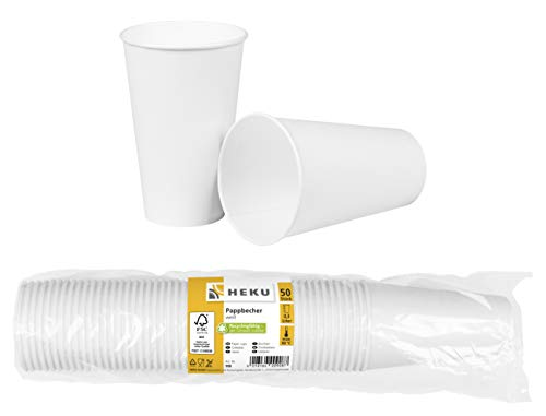 HEKU 30908: 50 Pappbecher, weiß, 0,3l, Frischfaser mit Beschichtung,