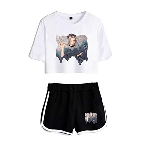 VERROL Camiseta Billie Eilish Niña, Billie Eilish Imprimiendo Camiseta y Pantalón Corto para Adolescente Chica, Camiseta de Manga Corta Verano Conjunto Deportivo para Mujeres y Niñas
