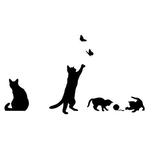 Winhappyhome Carino Cattivo Gioco Gatti Neri Autoadesivi Smontabili della Parete per La Camera da Letto Soggiorno Scale Passerella Sfondo Decor (Piccolo)