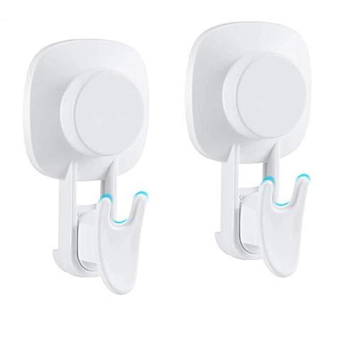 Gesh 2 ganchos con ventosa, fuerte ventosa gancho impermeable para ducha para baño y cocina, ganchos de pared al vacío para toalla
