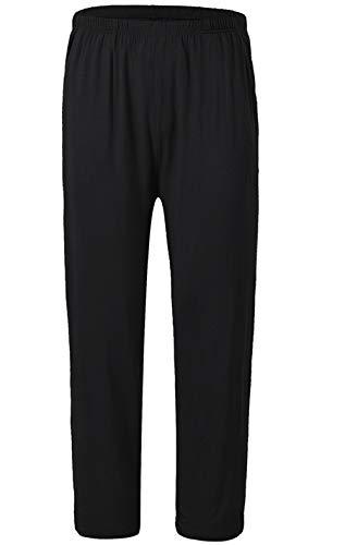 JINSHI Bas de Pyjama Vêtements de Nuit Homme Élastique Pantalon Long Doux Modal avec Poches Noir XX-Large